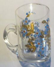 Petit verre chope avec décor bleu et or