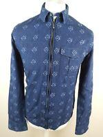 Mens Pretty Green Zip Shirt Small Chambray Denim Blue Slim 38 Chest Rare