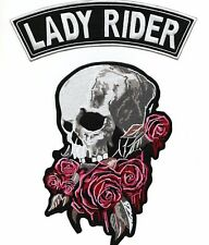 Skull BLEEDING ROSES Lady Rider Rocker Jacket Patch Women's Motorcycle Large 2pc