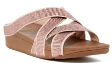 Fitflop Women's Slinky Rokkit Criss-Cross Crystal Embellished Slide Sandals US 9