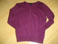 NEW Womens S Aubergine Purple H&M Basic Cardigan SWEATER Button Front Cotton 3/4