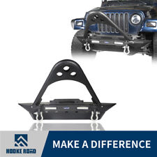 Hooke Road Front Bumper w/ Winch Plate&LED Lights For 87-06 Jeep Wrangler YJ TJ