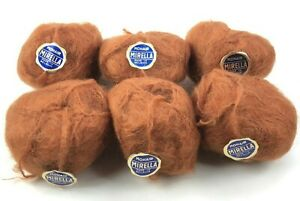 Vintage Mirella Yarn 6 Skeins Balls 100% MOHAIR Brown NOS Lot Belgium Deadstock
