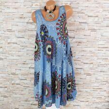 MADE IN ITALY Hängerchen Kleid Sommerkleid Ornamente Ethno tauben-blau 40 42 44