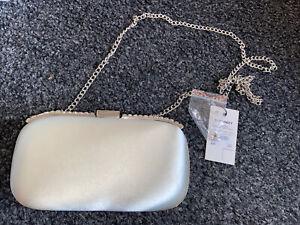 Dune Bingley Satin Embellished Clutch Bag Ivory READ DESCRIPTION