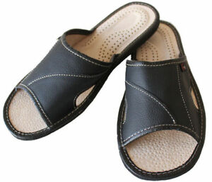 Men's Slippers Hand Made Leather Slip On Shoe Mules Black Open Toe Size 6 - 11