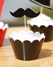 Cupcake Cup Cake Decorating,Toppers Wrappers PARTY DECORATION, Mustache style