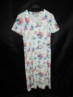 Vintage 80s Ms Conduct L White Pink Purple Floral Summer Dress Short Sleeve Midi