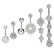 6 PCS Stainless Rhinestone Belt Navel Ring Body Piercing Jewelry Silver_GG
