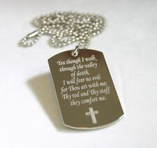 PRAYER PSALM 23:4 VALLEY OF DEATH STAINLESS STEEL SPECIAL DOG TAG NECKLACE