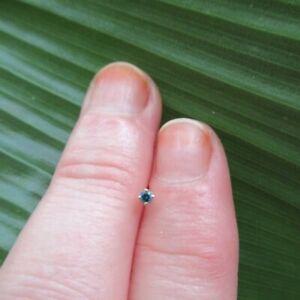 Alluring Body Nose Stud 2mm Natural Blue Diamond 18K YG