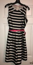 Eliza J Size 16 Black And White Striped Dress With Belt. Fully Lined