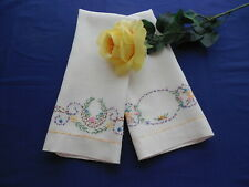 Set of 2 Vintage White Linen Guest Towels w/ Hand Embroidery & Hemstitching