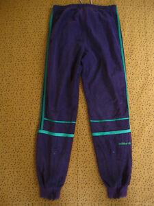 Pantalon Adidas Challenger 80'S Violet et vert Velour Survetement vintage - S