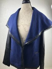 VINCE LEATHER SLEEVE DRAPED FRONT WOOL BONCLE JACKET NEW NWT SIZE 12