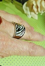 NEW! Chunky Stainless Steel Ring with Gold Animal Stripes/ Unisex Size 7.5-8