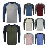 Brave Soul 'Osbourne' Men's Long Sleeve T-Shirt Baseball Style Raglan Top New
