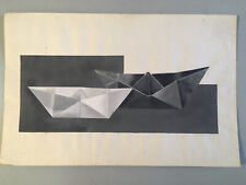 Grande Peinture Sur Papier Non Signé Art Abstrait Origami 1960 Géométrique