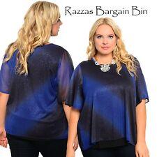 New Ladies Blue Shimmer Top Plus Size 16/2XL (9824)LQ