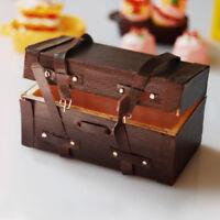 1:12 Dollhouse Mini Luggage Box Miniature Retro Leather Wood Suitcase New