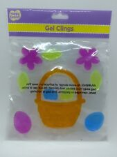 Happy Easter Window Gel Clings Easter Basket w Eggs Flowers Decoration Supplies