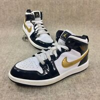 "NIKE YOUTH AIR JORDAN 1 MID SE (PS) ""PATENT GOLD"" Size 2.5Y BQ6932-007"