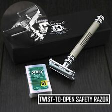 Twist opening Butterfly Style Long Handle Double Edge Safety Razor in Sliver