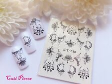 Nail Art Filigree Black Lace Necklace Orchid Water Transfer Decal Sticker 638