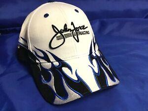 NHRA DRAG RACING Hat Cap JOHN FORCE Racing WHITE/BLUE/BLACK Flames NWT $30