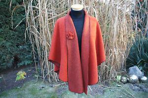 Damen Woll-Wende Cape / Poncho / Umhang in Terrakotta / Orange - handgefertigt