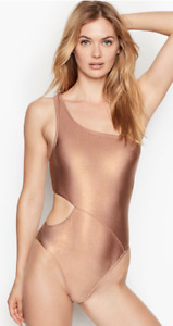 VICTORIA'S SECRET Metallic One Shoulder One Piece Swimsuit Rose Sand Foil CHOOSE