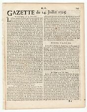 1725,july 14, Rare Original French Gazette with news from America