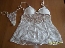 Cream Sexy Pretty Sheer Chiffon Negligee Set Various Sizes Available
