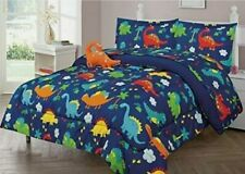 8 pc Dinosaur Kids  Full Comforter Bedding Sheet Set Bed in a Bag with Toy