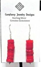 Sterling Silver Red CORAL Gemstone Heishi Dangle Earrings #1382 ...Handmade USA