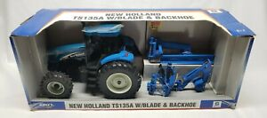 New Holland TS135A Tractor With Blade & Backhoe 1/16 Scale By Ertl RARE! NIB