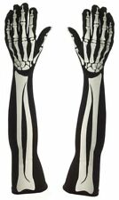 Long Adult Skeleton Gloves Bone printed 58cm Halloween Fancy Dress Accessory