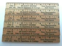 "Vintage Wood 6"" Ruler Lot of 6 Advertising Political Illinois Wooden"