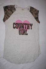 Womens Sleep Shirt COUNTRY GIRL Gray Variegated CAMO SLEEVES Pink Heart 1X 16W