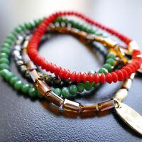 Modeschmuck Armband Glasperlen Orange Grün Türkis Kristallperlen, von Cátia Levy