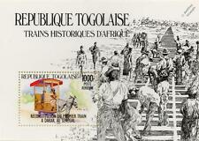 Premier chemin de fer de Dakar Sénégal hirse-DRAWN train STAMP SHEET (1984 Togo)