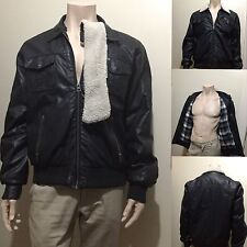Men's XL Size Black Jacket With Removable Fur Collar & Checkered Lining