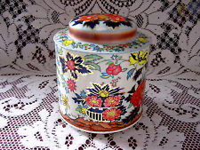 ViNTaGe Pink~Blue FLoRaL~GoLD Tea Tin~Metal Candy~Biscuit Box Canister~Dome Lid