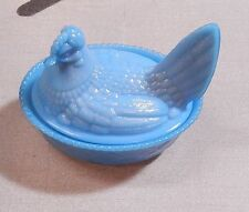 "Vintage Westmoreland  Glass Antique Blue Opaque Hen on Nest 5 3/4"""