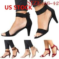 Women  Shoe Ankle Strap Flat Casual Sandals Shoes Chunky Low/Mid Heel Dress