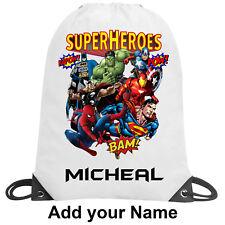 Superheroes Personalised School Gym Swimming PE Nursery Drawstring Bag Gift