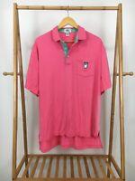 VTG 80s Izod Lacoste Men's Front Pocket Shield Bright Pink Polo Shirt Size XL
