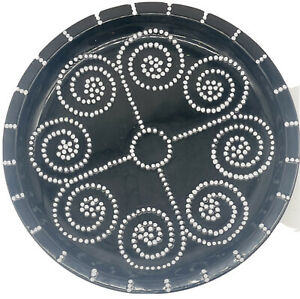 """black and white decorative large plate ceramic handpaint 13"""" Not For Food"""