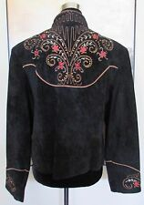 Scully Western Jacket Black Suede Leather Embroidered Floral Sz 16 NWOT