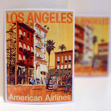 """#3218 Los Angeles LA Vintage American Airlines 3x4"""" Luggage Label Decal Sticker"""